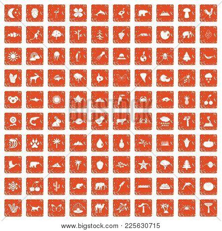 100 Nature Icons Set In Grunge Style Orange Color Isolated On White Background Vector Illustration
