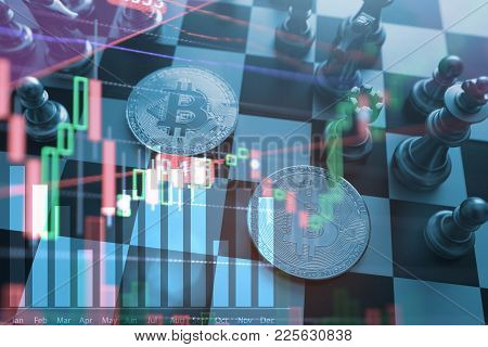Business Idea Concept : Bitcoin Symbol On Chess Board Game, Tock Financial Statistic Graph Analysis