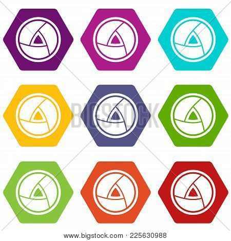 Objective Icon Set Many Color Hexahedron Isolated On White Vector Illustration