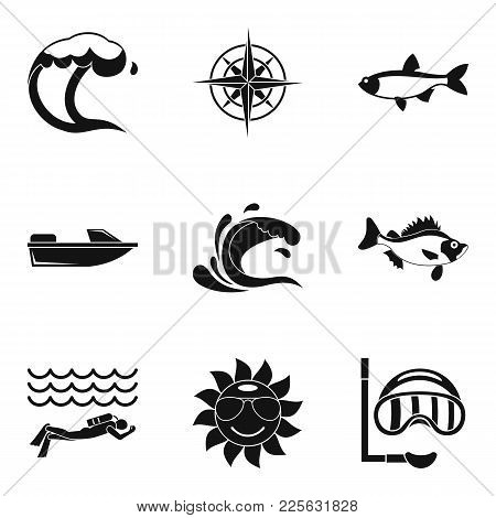Oceanologist Icons Set. Simple Set Of 9 Oceanologist Vector Icons For Web Isolated On White Backgrou