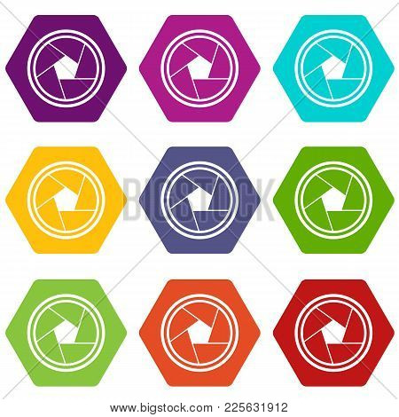 Photo Objective Icon Set Many Color Hexahedron Isolated On White Vector Illustration
