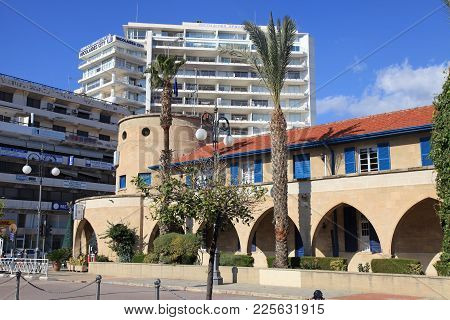 Larnaca, Cyprus - January 6, 2018: Cityscape With Colonial And Modern Buildings In Larnaca, Cyprus.