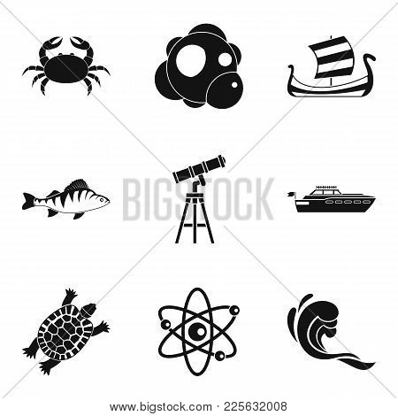 Oceanographic Icons Set. Simple Set Of 9 Oceanographic Vector Icons For Web Isolated On White Backgr
