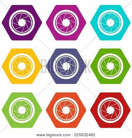 Photographic Objective Icon Set Many Color Hexahedron Isolated On White Vector Illustration