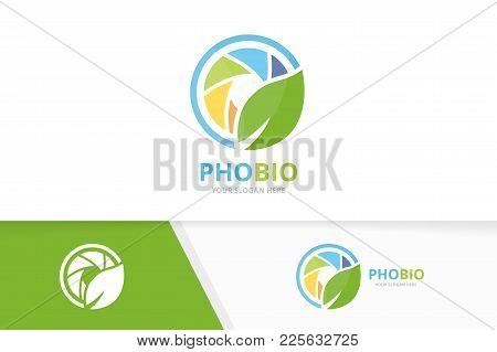 Vector Camera Shutter And Leaf Logo Combination. Lens And Eco Symbol Or Icon. Unique Photo And Organ