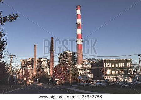 Famous Smokestack Landmark In The City Bridgeport Connecticut.