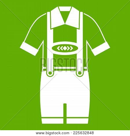 T-shirt And Pants With Suspenders Icon White Isolated On Green Background. Vector Illustration