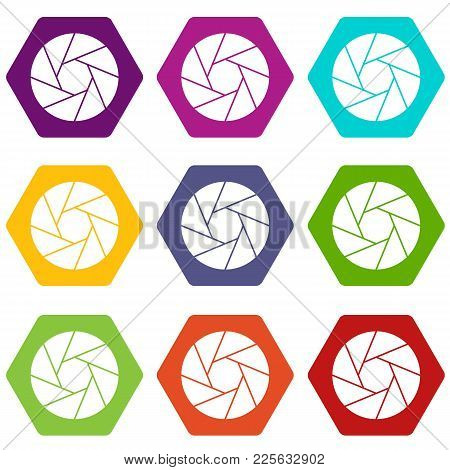 Little Objective Icon Set Many Color Hexahedron Isolated On White Vector Illustration