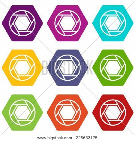 Close Objective Icon Set Many Color Hexahedron Isolated On White Vector Illustration