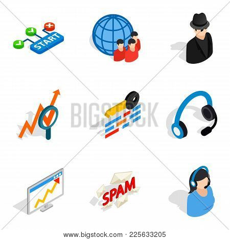 Secretary Icons Set. Isometric Set Of 9 Secretary Vector Icons For Web Isolated On White Background