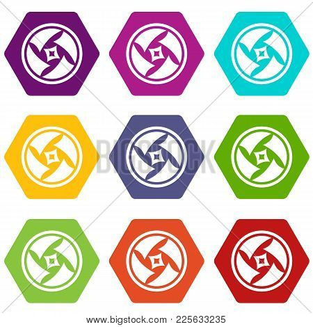 Covered Objective Icon Set Many Color Hexahedron Isolated On White Vector Illustration