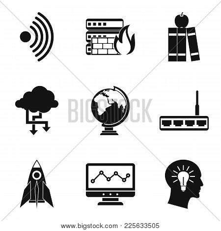 Online Seminar Icons Set. Simple Set Of 9 Online Seminar Vector Icons For Web Isolated On White Back