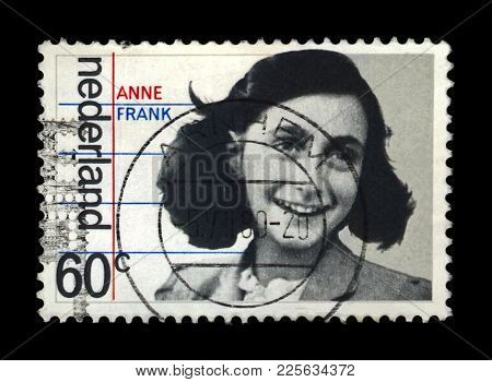 Netherlands - Circa 1980: Canceled Postal Stamp Printed In The Netherlands Shows Jewish Girl Anne Fr