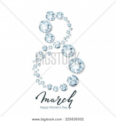 8 March Vector Greeting Card, International Women's Day. Number Eight 3D Silver Diamonds, Gems, Jewe