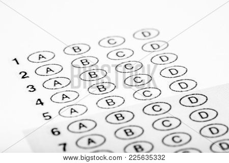 Multiple Choice Exam Bubble Form For Filling Out Answers For A Test