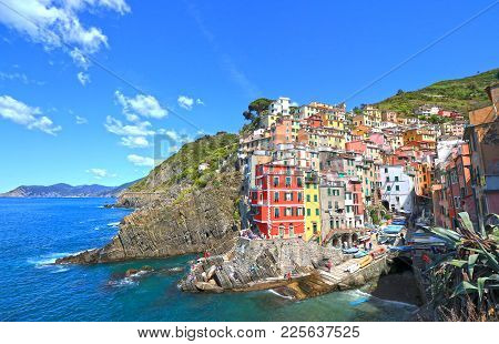 Riomaggiore Village, Cinque Terre, Italy. Colourful Beautiful Sunny Day