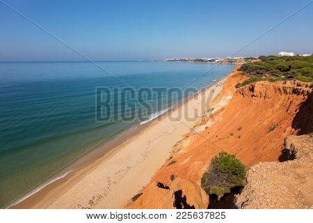 Top view of idyllic beach of Falesia, Algarve Portugal