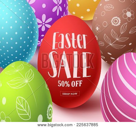Easter Sale Text In Red Color With Colorful  Eggs Elements In White Background. Easter Sale Vector B