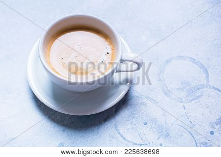 White Cup Fresh Coffee Blue Background