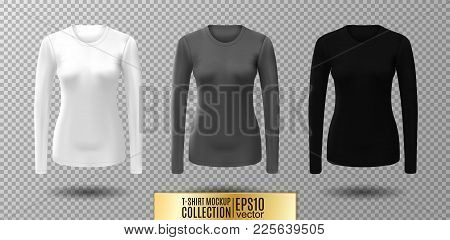 Long Sleeve Blank Shirt. Vector White, Gray And Black Shirt Mockup.
