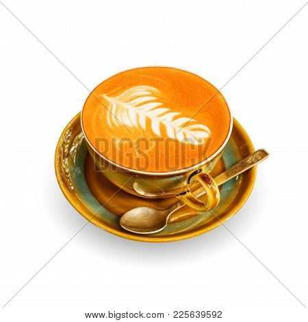 Hot Coffee Cup On A White Background