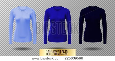 Long Sleeve Blank Shirt. Vector Blue Shirt Mockup.