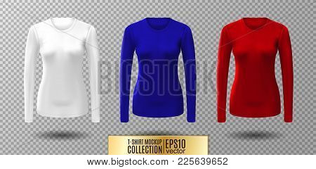 Long Sleeve Blank Shirt. Vector White, Red And Blue Shirt Mockup.