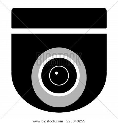 Cctv Camera On White Background. Cctv Sign. Security Camera Icon. Video Surveillance. Black Icon Sur