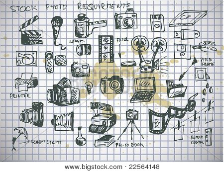 Hand Drawn Photographer Accesories