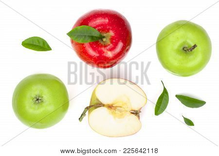 Red And Green Apples With Slices And Leaves Isolated On White Background Top View. Set Or Collection