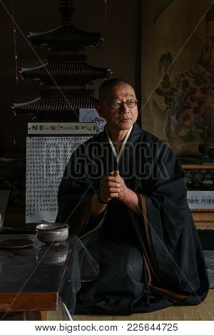 Kyoto, Japan - Senkoji Temple - April 7, 2017: Monk Obayashi Is Seated In The Reception Hall Before