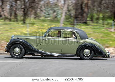 Adelaide, Australia - September 25, 2016: Vintage 1951 Riley Rmb Saloon Driving On Country Roads Nea