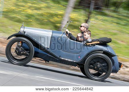 Adelaide, Australia - September 25, 2016: Vintage 1946 Austin 16 Sedan Driving On Country Roads Near