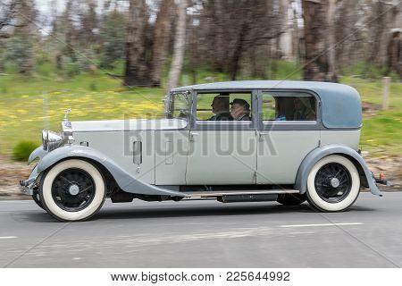 Adelaide, Australia - September 25, 2016: Vintage 1932 Rolls Royce 20/25 Sedan Driving On Country Ro
