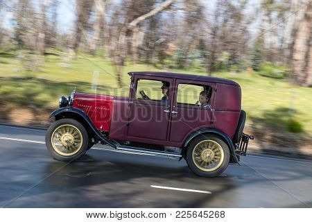 Adelaide, Australia - September 25, 2016: Vintage 1930 Ajs Series A Fabric Saloon Driving On Country