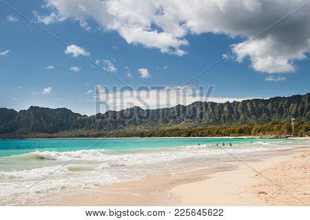 Bellows Beach Morning, Oahu Hawaiian Islands, With Sunshine, Sky, Mountains And Clouds