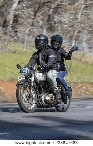 Adelaide, Australia - September 25, 2016: Vintage 1950 Bsa B31 Motorcycle On Country Roads Near The