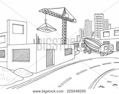 Building Construction Graphic Black White City Landscape Sketch Illustration Vector