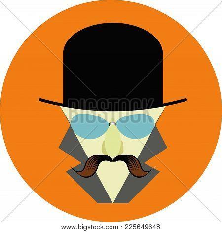 Man Witn Moustache In A Classic Hat