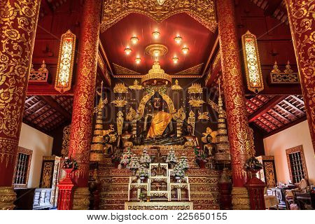 Chiang Rai, Thailand - December 25, 2017: The Wat Phra Kaew Is A Royal Temple In Chiang Rai And One