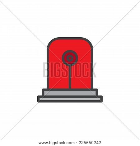 Fire Alarm Light Filled Outline Icon, Line Vector Sign, Linear Colorful Pictogram Isolated On White.