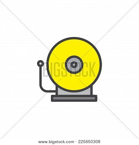 Fire Alarm Bell Filled Outline Icon, Line Vector Sign, Linear Colorful Pictogram Isolated On White.