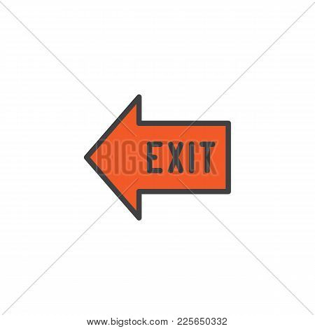 Exit Arrow Filled Outline Icon, Line Vector Sign, Linear Colorful Pictogram Isolated On White. Emerg