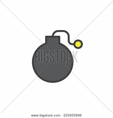 Fuse Bomb Filled Outline Icon, Line Vector Sign, Linear Colorful Pictogram Isolated On White. Symbol