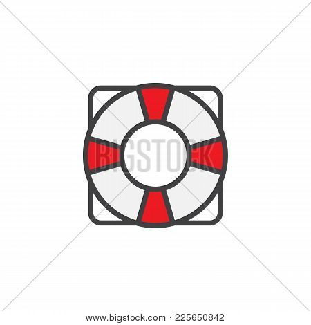 Life Saver Filled Outline Icon, Line Vector Sign, Linear Colorful Pictogram Isolated On White. Lifeb
