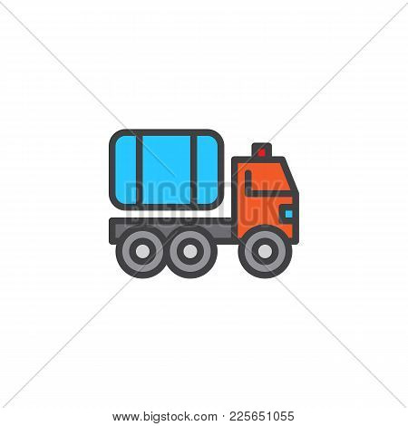 Fire Truck Filled Outline Icon, Line Vector Sign, Linear Colorful Pictogram Isolated On White. Water