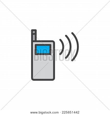 Walkie Talkie Filled Outline Icon, Line Vector Sign, Linear Colorful Pictogram Isolated On White. Po