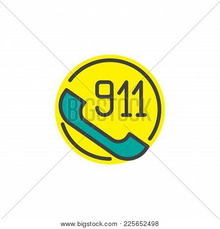 Handset With 911 Filled Outline Icon, Line Vector Sign, Linear Colorful Pictogram Isolated On White.