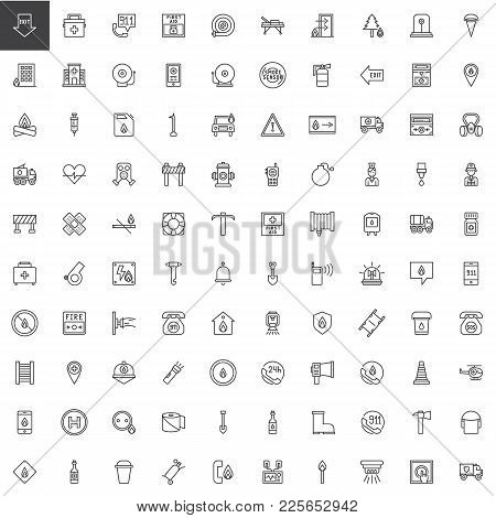 Emergency Services Line Icons Set, Outline Vector Symbol Collection, Linear Style Pictogram Pack. Si