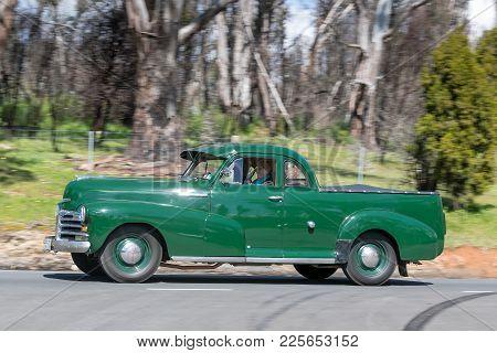 Adelaide, Australia - September 25, 2016: Vintage 1948 Chevrolet Style Master Utility Driving On Cou
